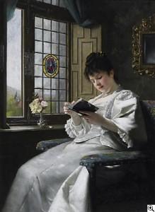 E. Anders Lesende junge Frau