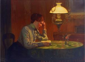 K. Müller Lesende junge Frau beim Licht der Petroleumlampe