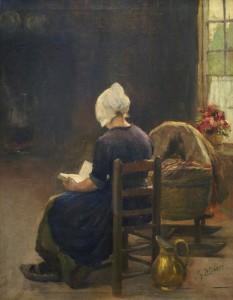Philipp Zeltner Lesende Frau an der Wiege